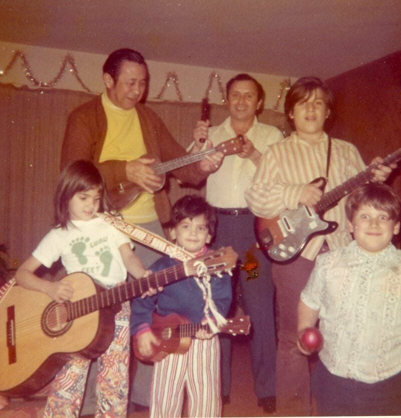 There was always music during family gatherings. (Back row) Great-Uncle Dan, Dad, brother-Vernon, (Front row) Me, brother-Augie, brother-Kerman