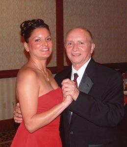Laurene and Dad at Augie s Wedding December 2004 1